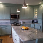 coastal teal kitchen and granite countertop