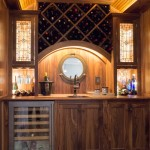 stained glass custom wood wet bar